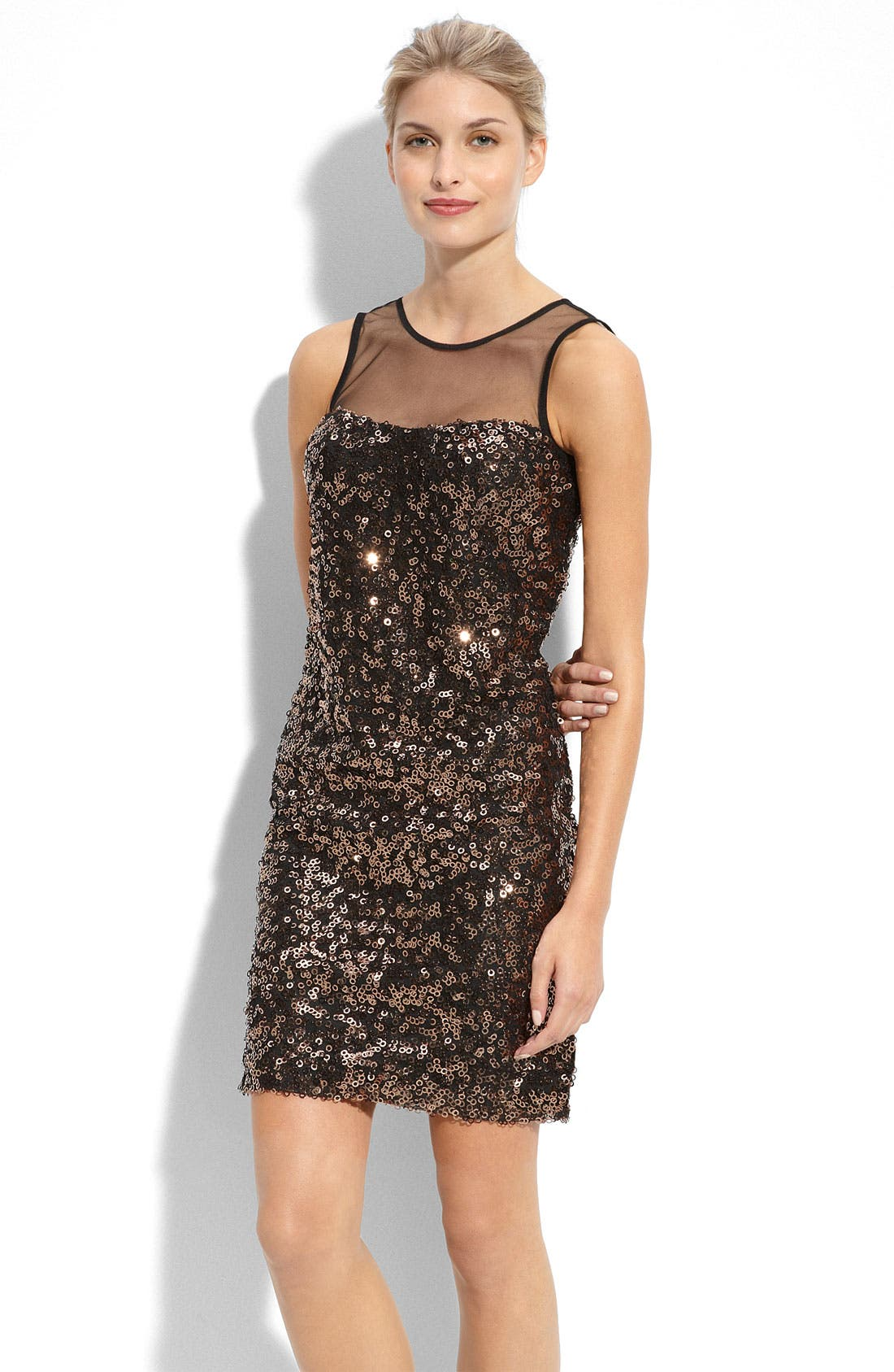 Illusion Bodice Sequin Dress,                         Main,                         color, Copper
