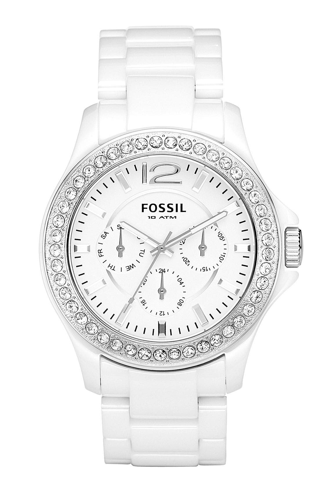 Main Image - Fossil 'Riley' Ceramic Bracelet Watch, 38mm