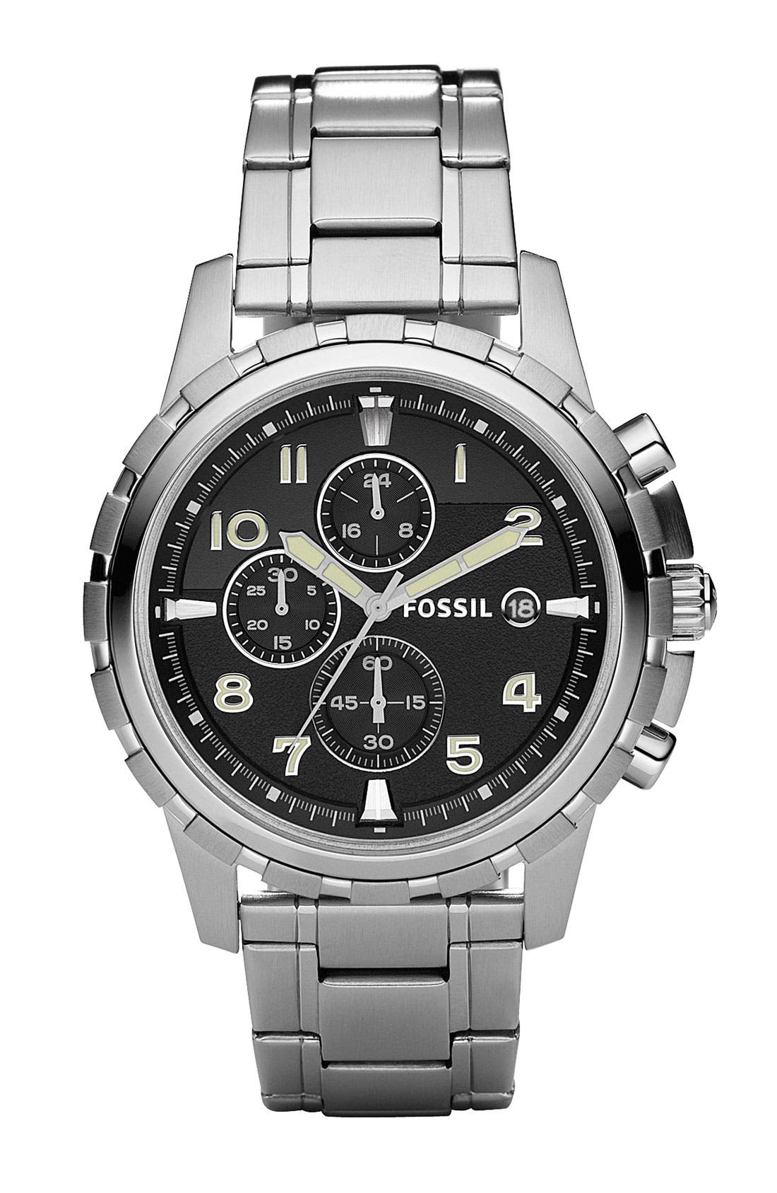 Alternate Image 1 Selected - Fossil Notched Bezel Chronograph Bracelet Watch, 45mm