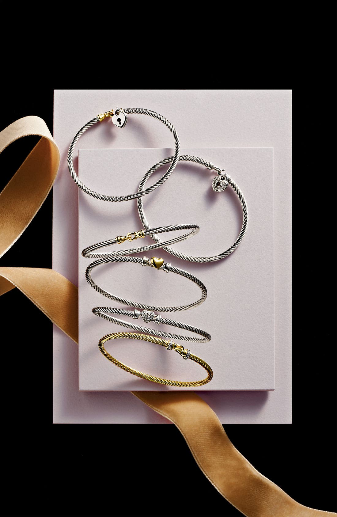 'Cable Collectibles' Heart Lock Bracelet with Diamonds,                             Alternate thumbnail 3, color,