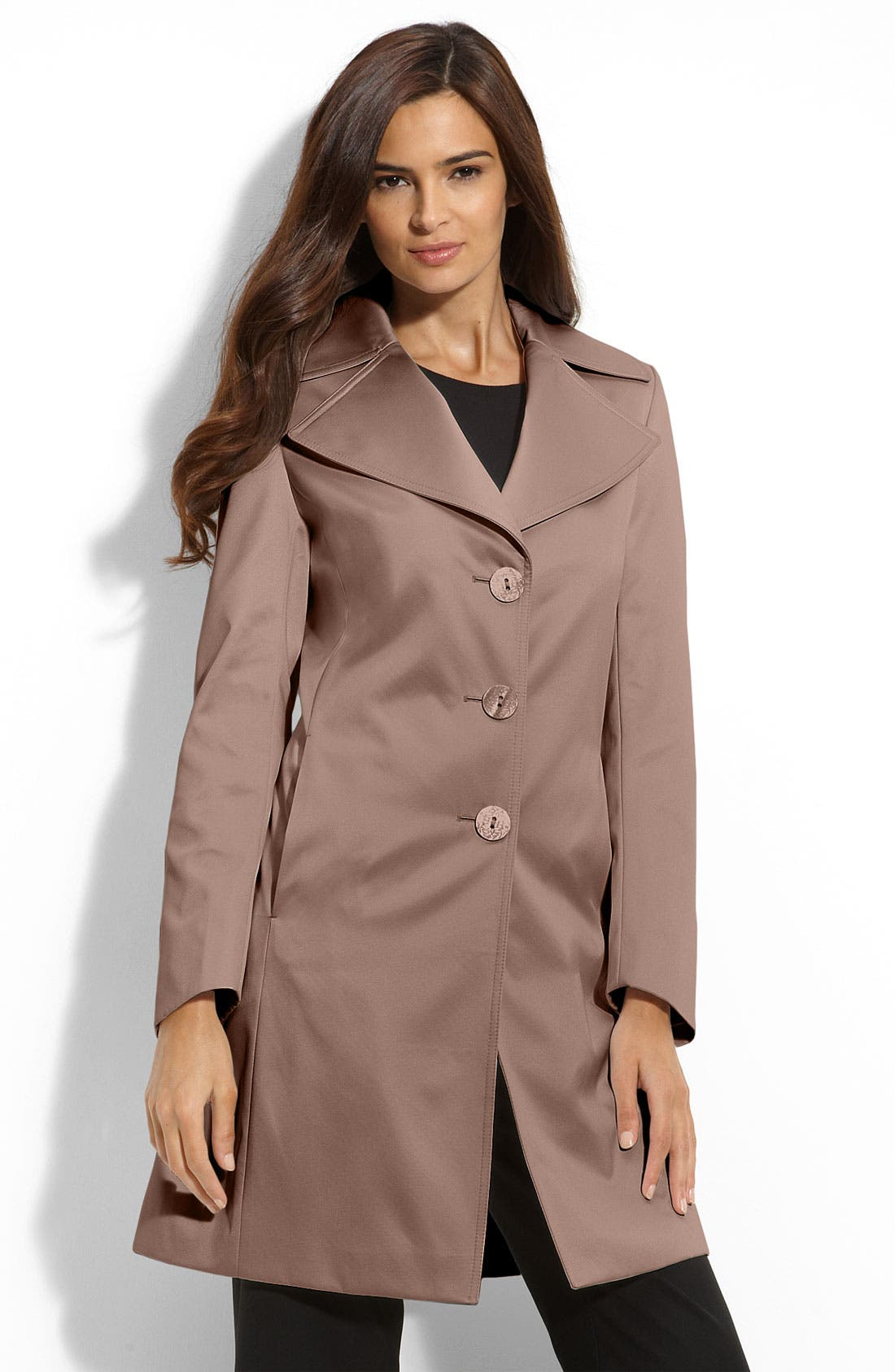 'Lola' Notched Collar Walking Coat,                             Main thumbnail 1, color,                             Vintage Rose