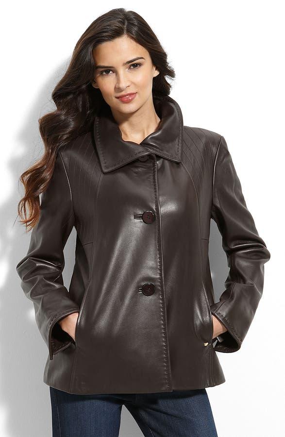Ellen Tracy Leather Swing Coat | Nordstrom