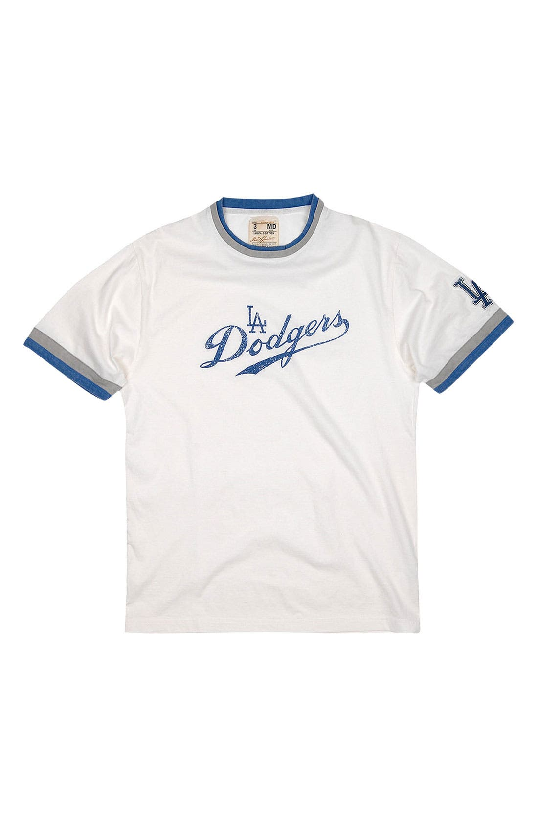 'Los Angeles Dodgers' Trim Fit Ringer T-Shirt,                             Main thumbnail 1, color,                             White - Dodgers