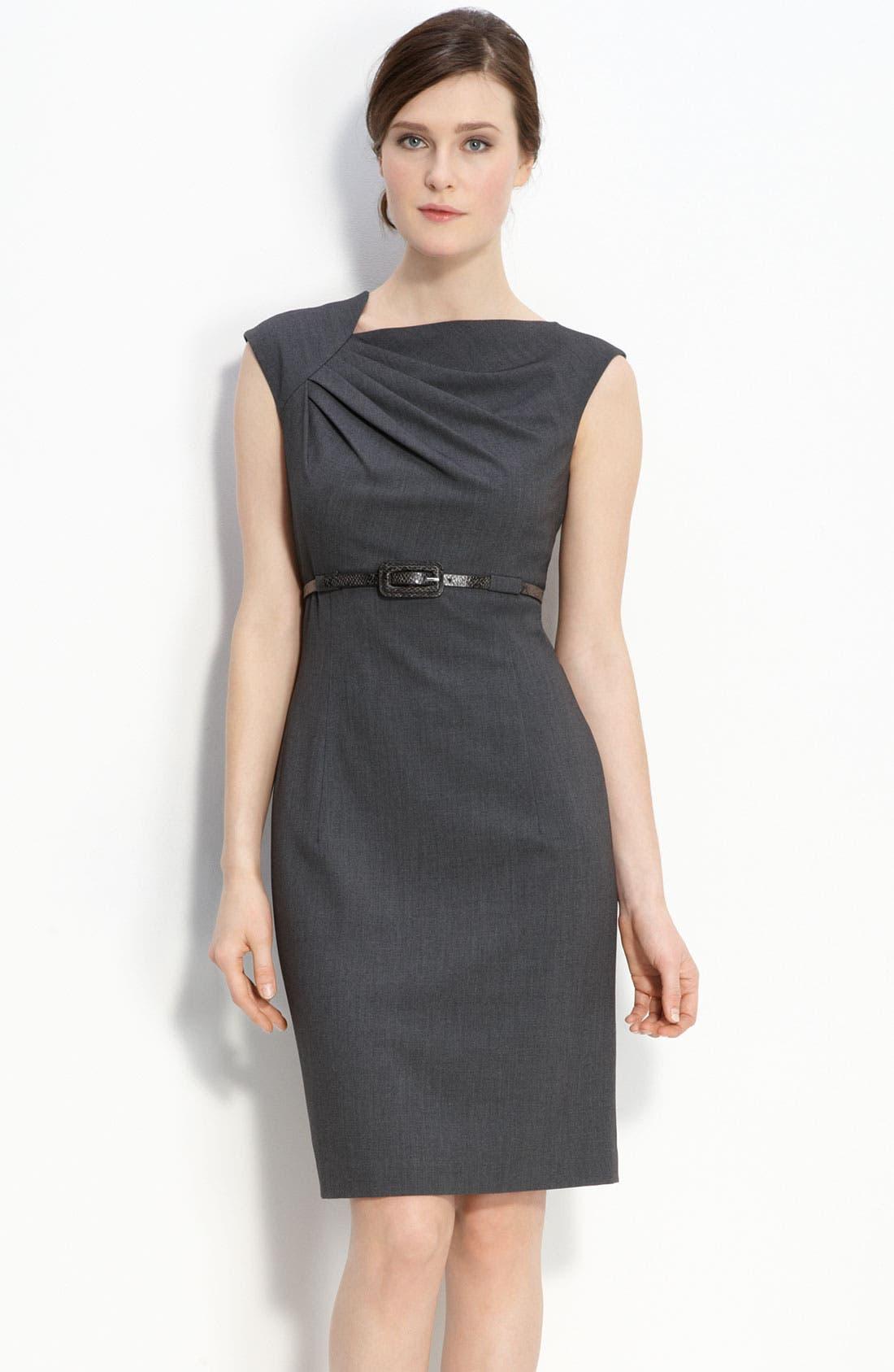 Belted Asymmetrical Sheath Dress,                             Main thumbnail 1, color,                             Charcoal