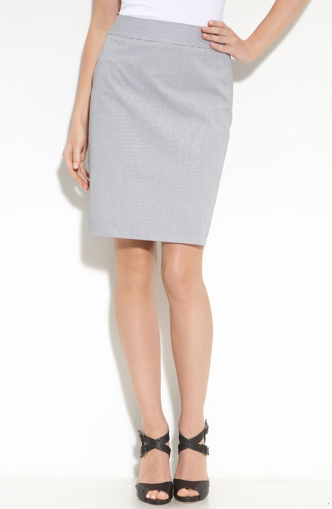 Alternate Image 1 Selected - Halogen® Cotton Sateen Pencil Skirt
