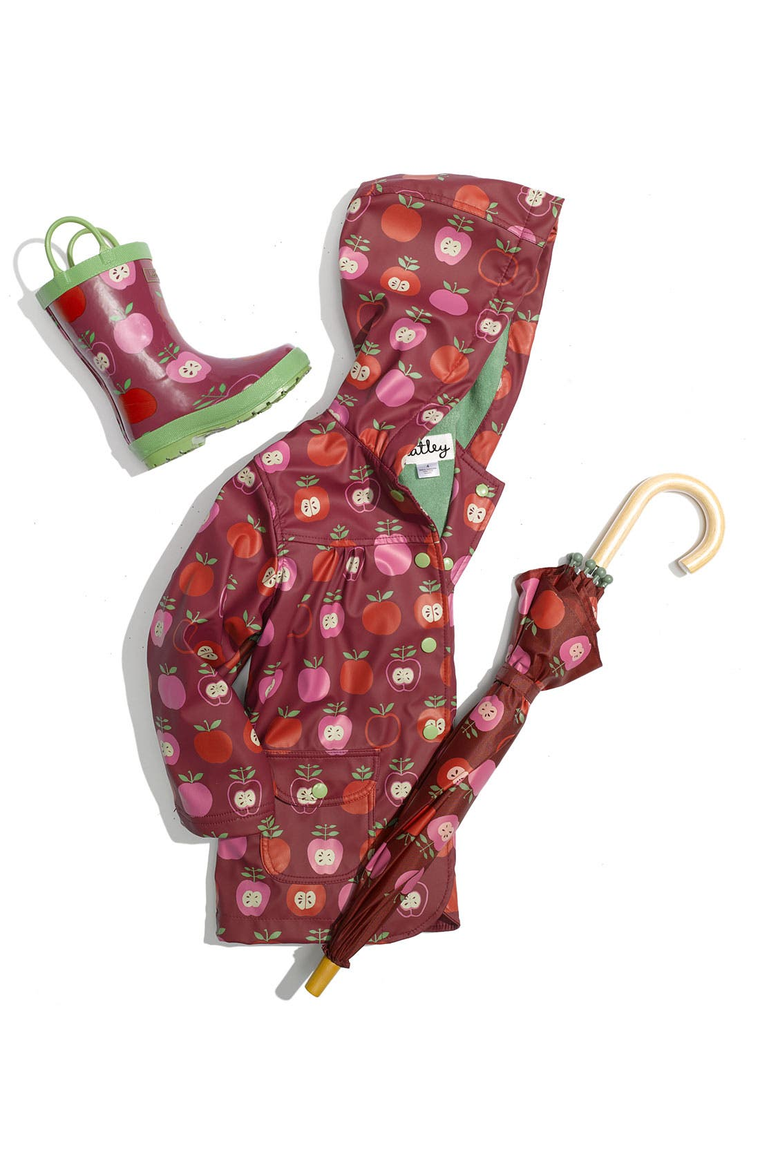 Alternate Image 2  - Hatley Apple Print Raincoat (Infant, Toddler & Little Girls)