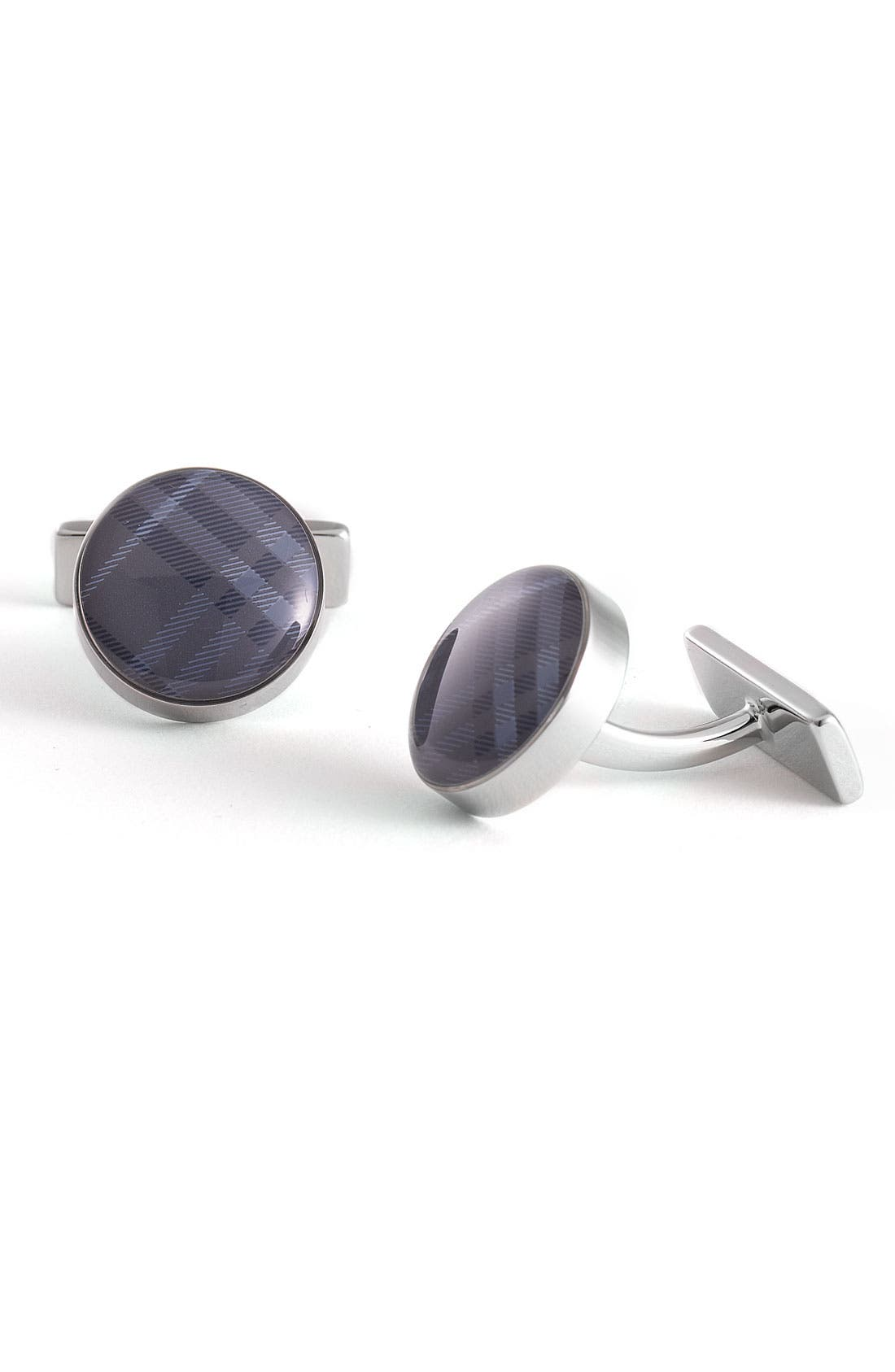 Main Image - Burberry Check Round Cuff Links