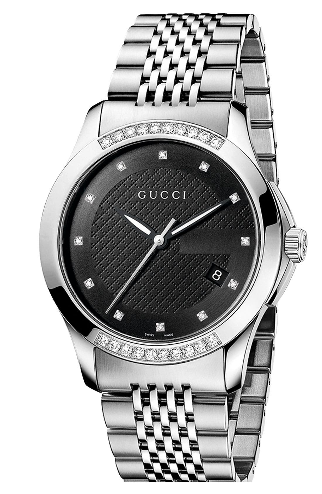 Alternate Image 1 Selected - Gucci 'G Timeless' Diamond Bracelet Watch