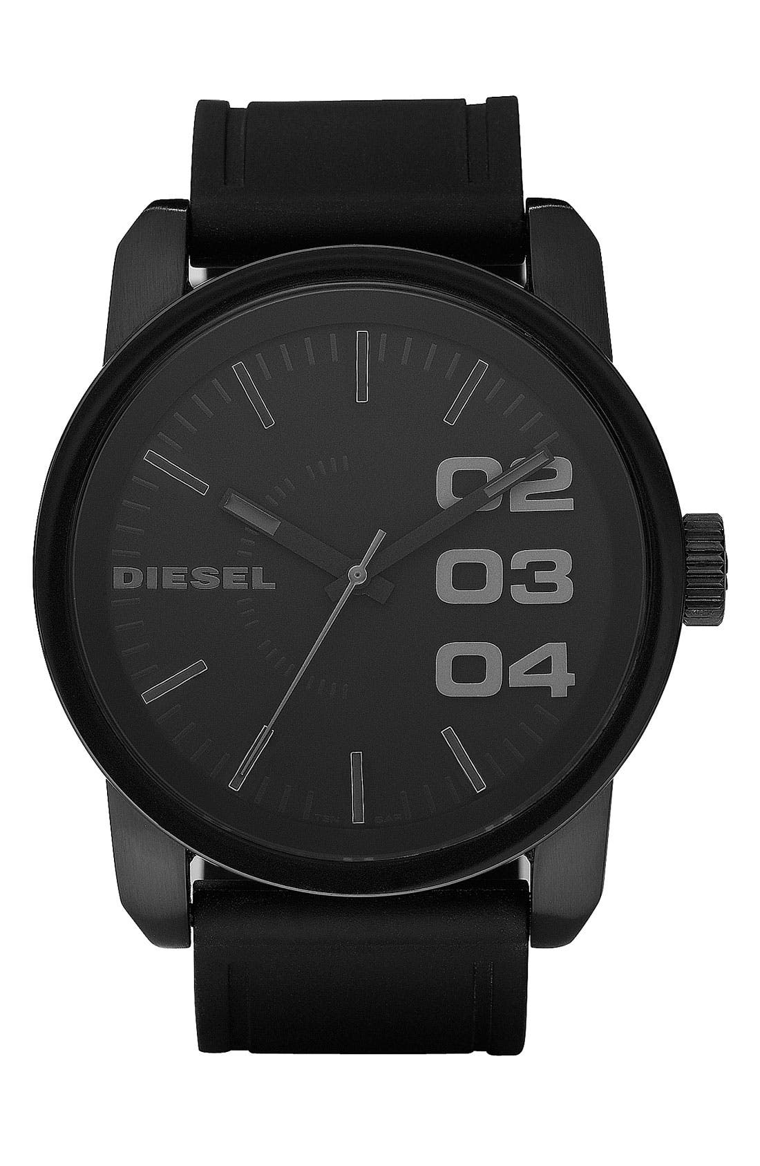 Main Image - DIESEL® 'Double Down' Round Silicone Strap Watch, 45mm