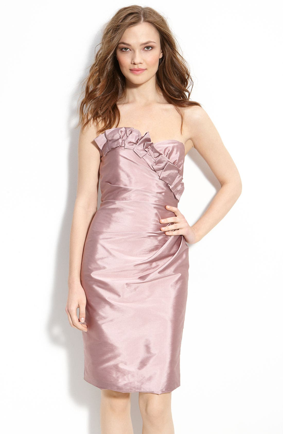 Alternate Image 1 Selected - ML Monique Lhuillier Bridesmaids Satin Ruffle Trim Strapless Dress (Nordstrom Exclusive)