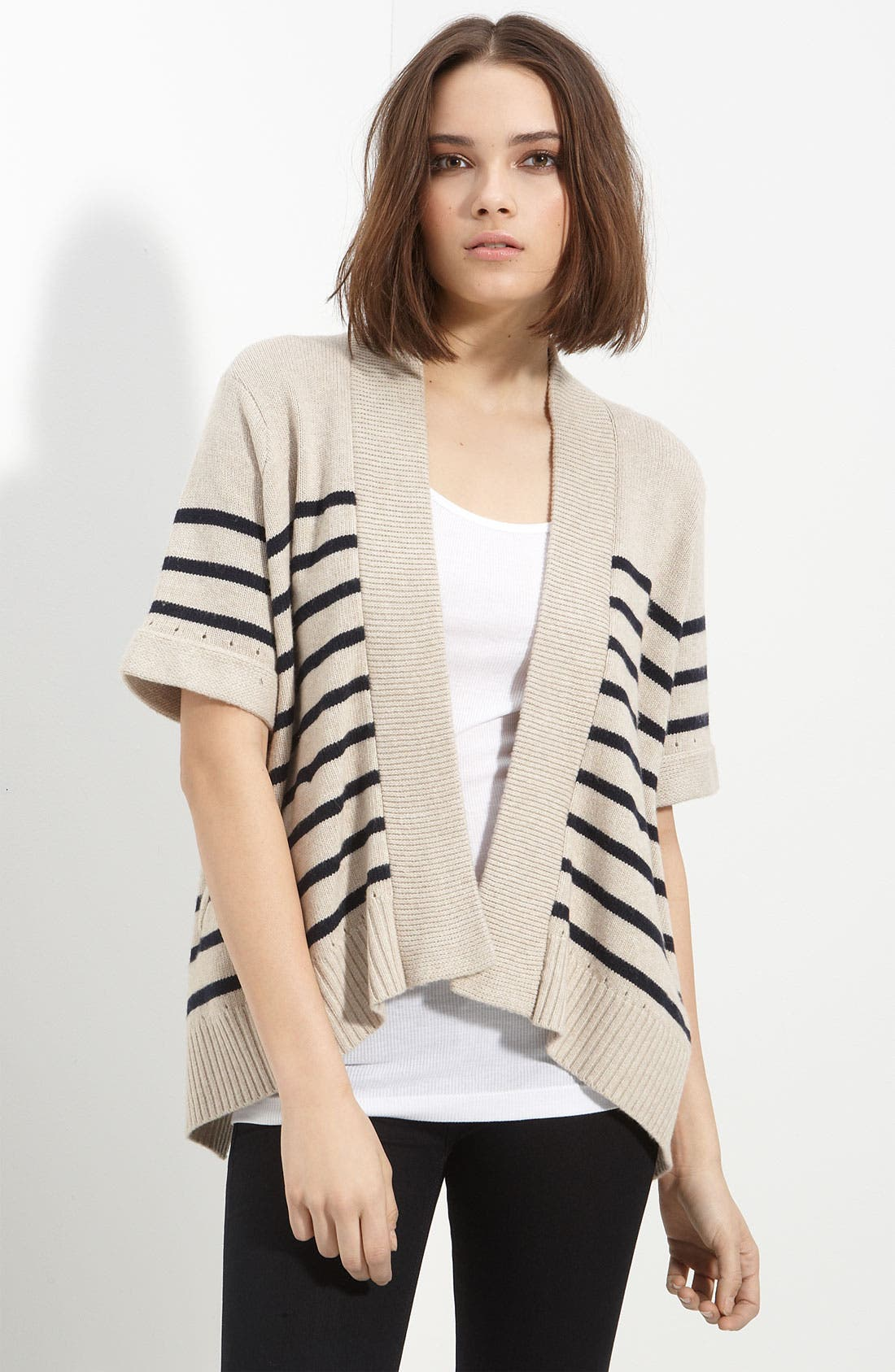 Alternate Image 1 Selected - rag & bone 'Fenland' Stripe Drape Front Sweater