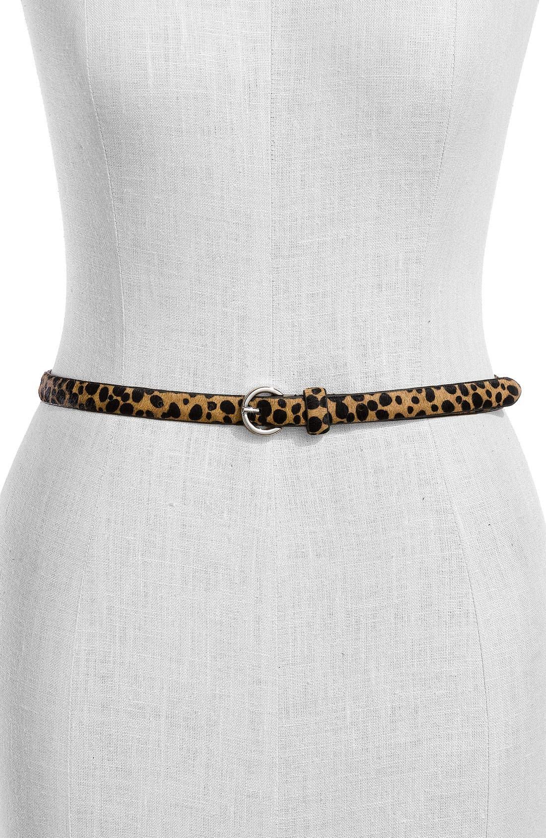Main Image - Fina Firenze 'Leopard - Skinny' Calf Hair Belt