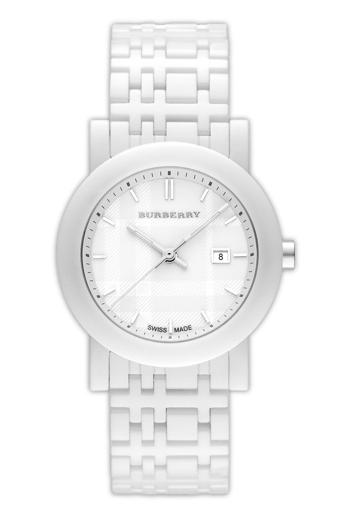 Alternate Image 1 Selected - Burberry Round Ceramic Watch