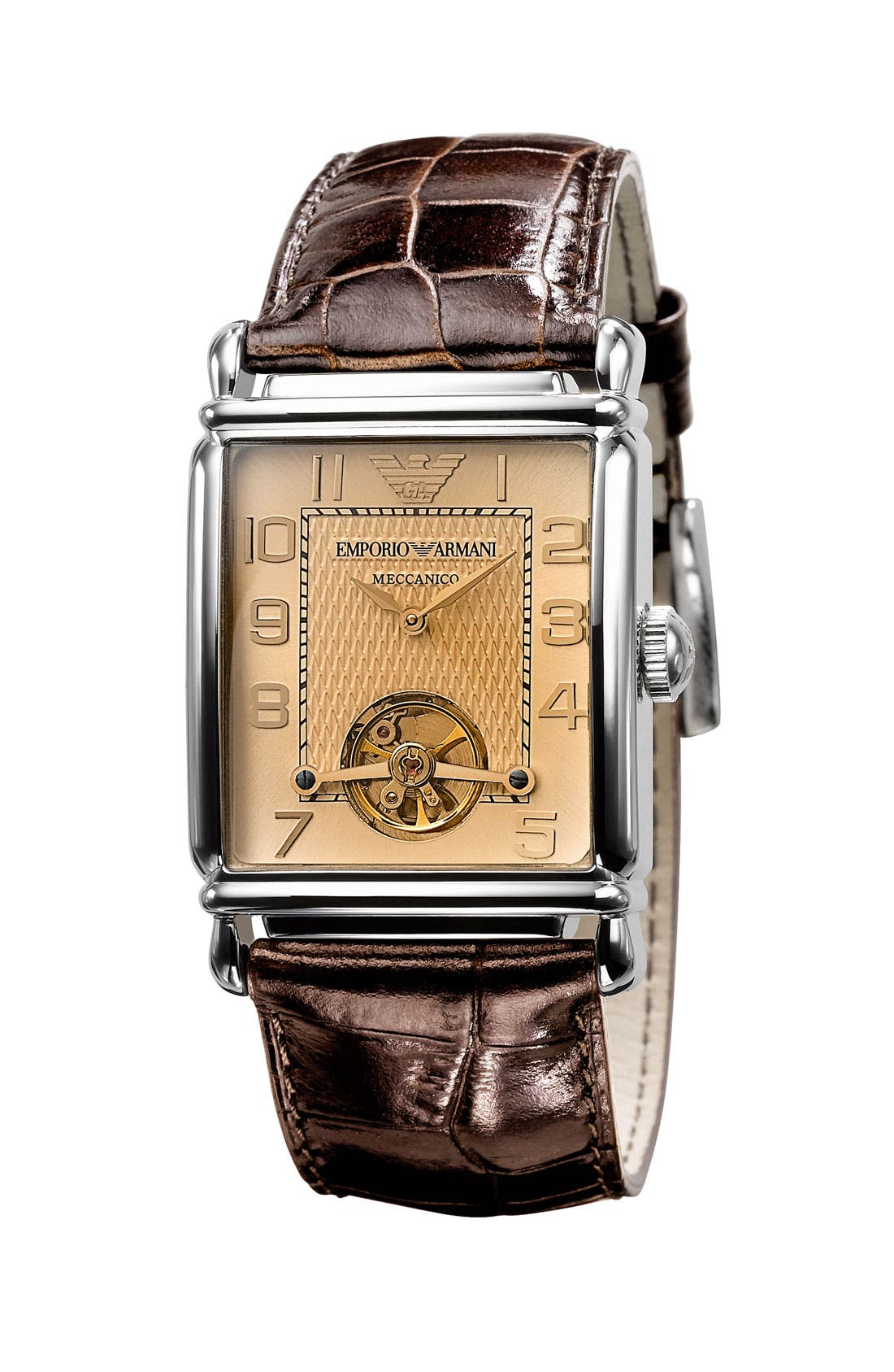 Alternate Image 1 Selected - Emporio Armani 'Meccanico' Automatic Rectangular Watch