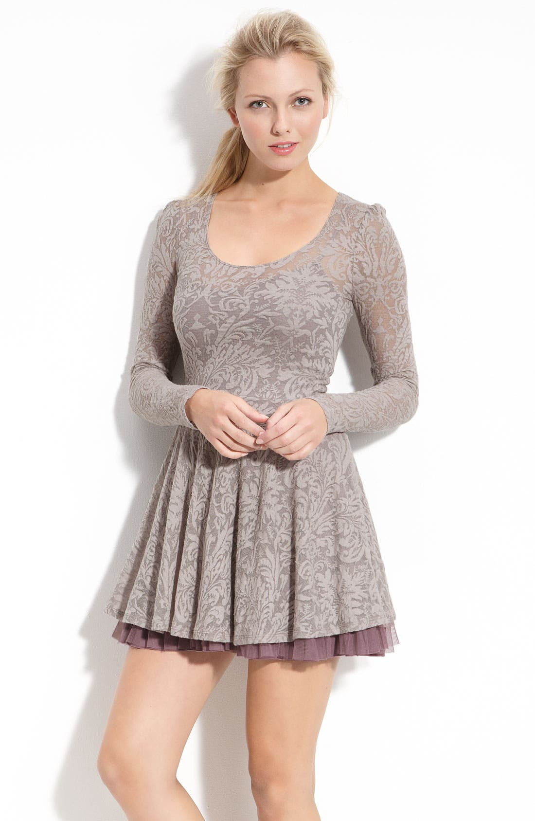 Alternate Image 1 Selected - Free People Floral Burnout Puff Sleeve Dress