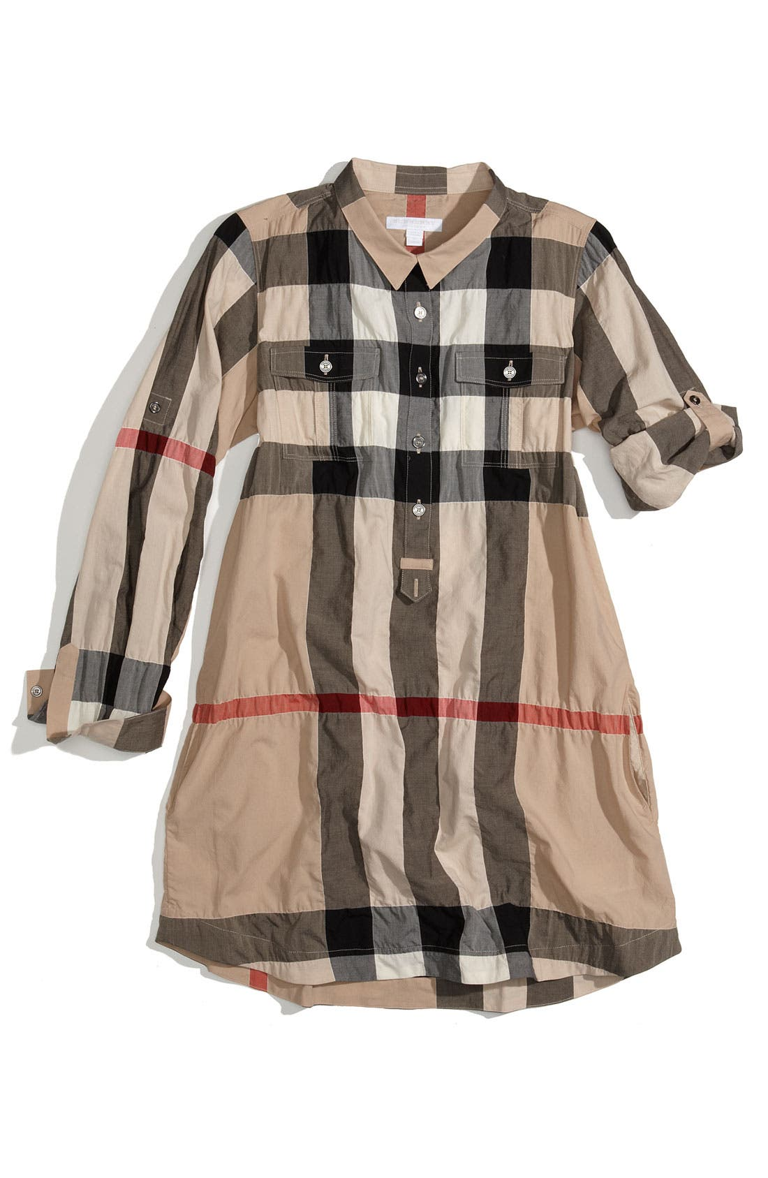 Main Image - Burberry Check Print Shirtdress (Big Girls)