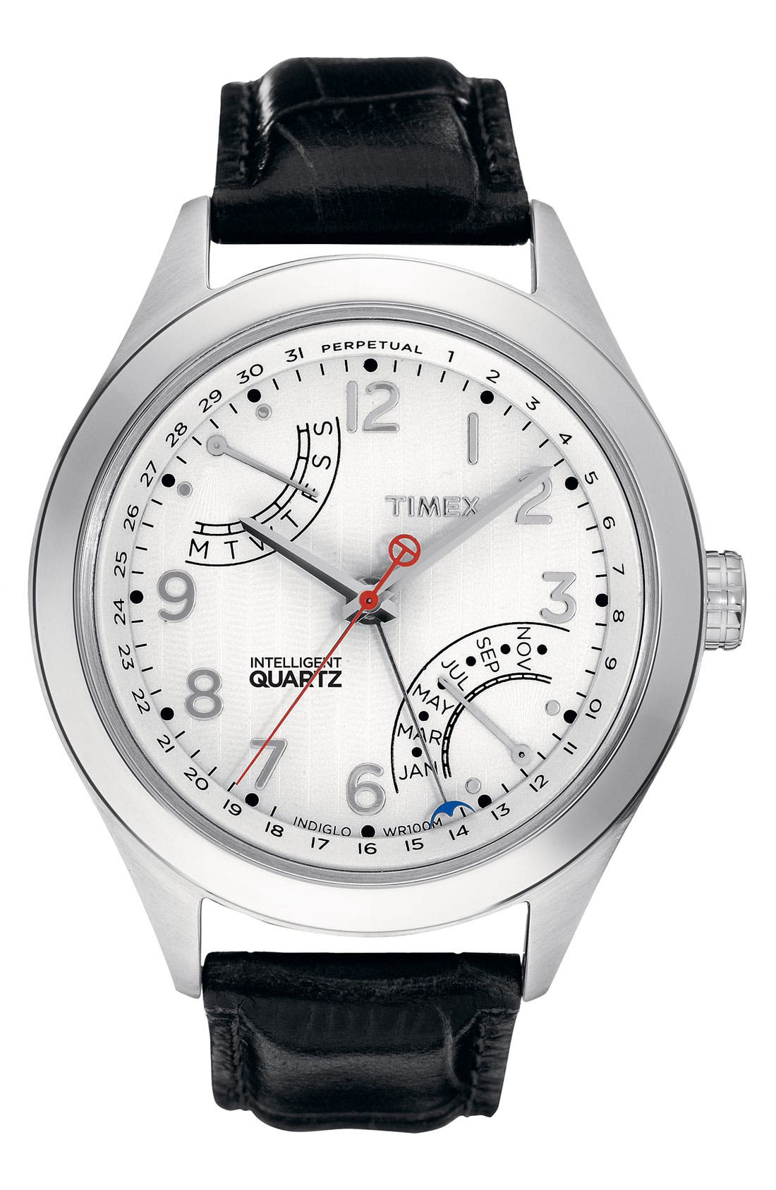 Alternate Image 1 Selected - Timex® 'Intelligent Quartz' Perpetual Calendar Leather Strap Watch