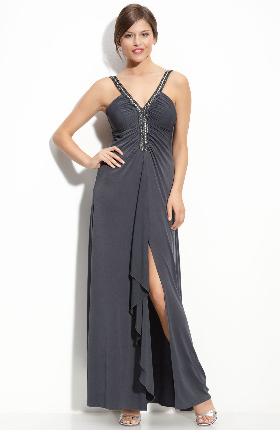 Main Image - JS Boutique Beaded Ruched Jersey Gown