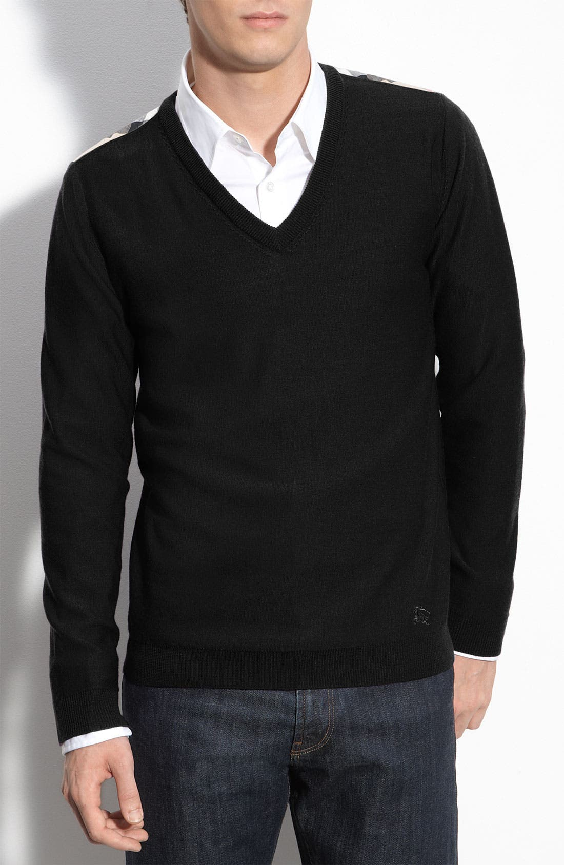 Alternate Image 1 Selected - Burberry Brit Trim Fit Check Shoulder V-Neck Merino Wool Sweater