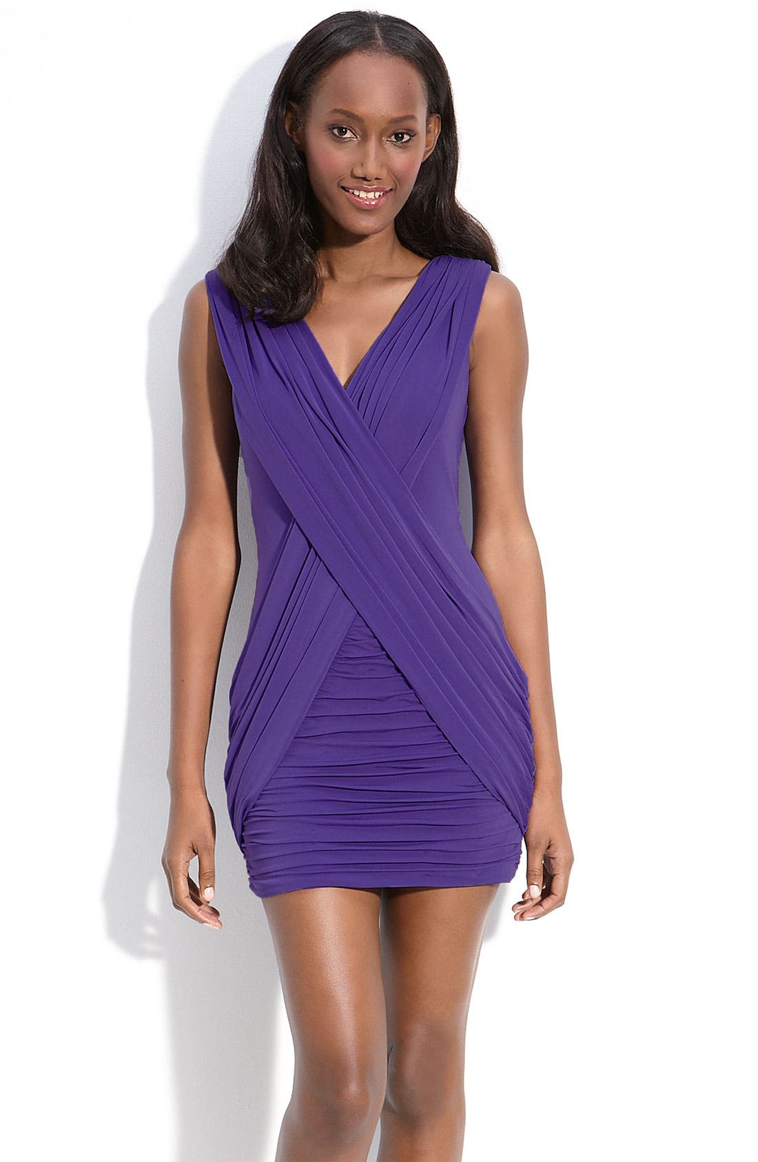 Alternate Image 1 Selected - BCBGMAXAZRIA Crisscross Jersey Sheath Minidress