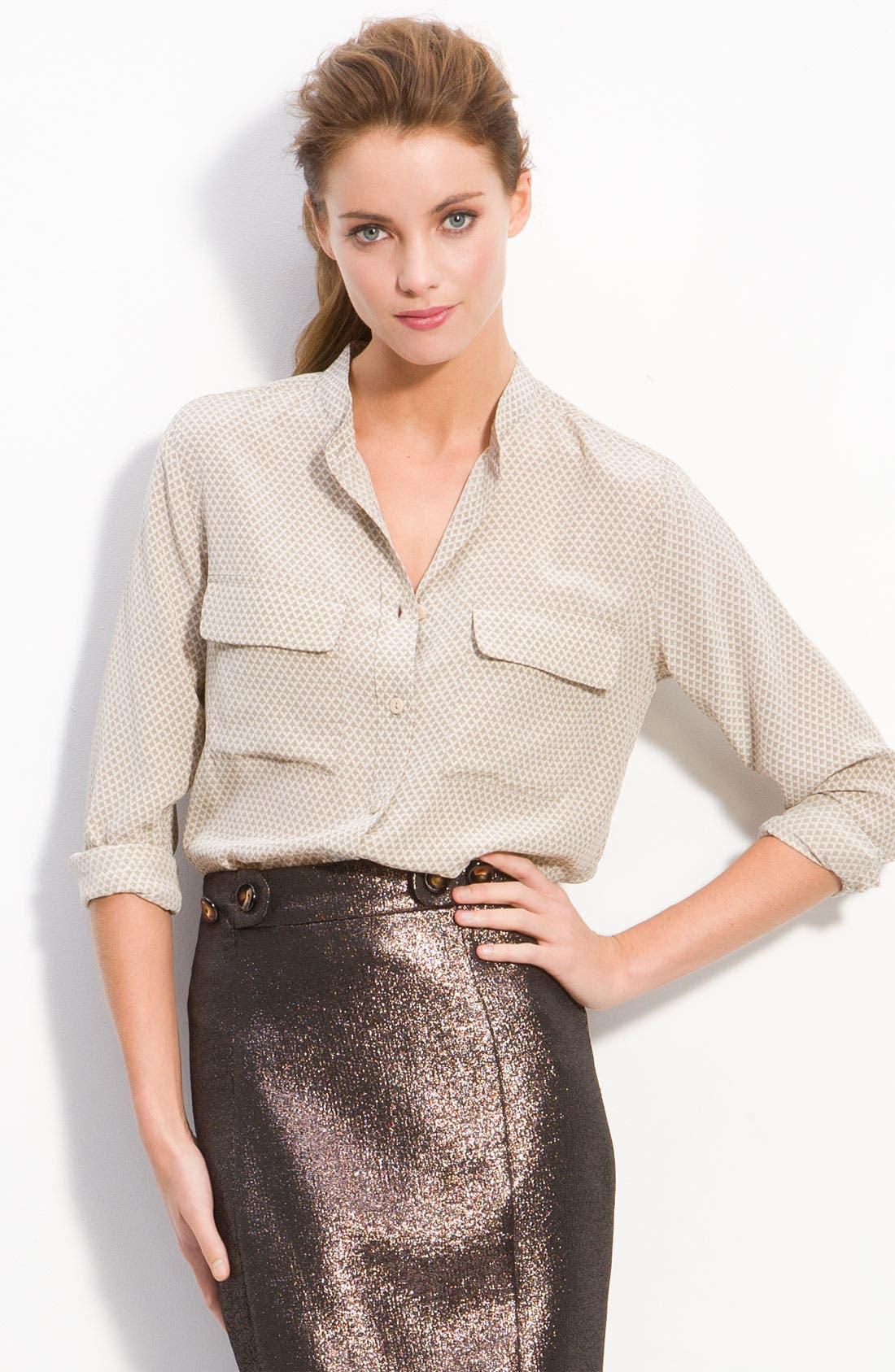 'Signature' Collarless Shirt,                         Main,                         color, Coriander