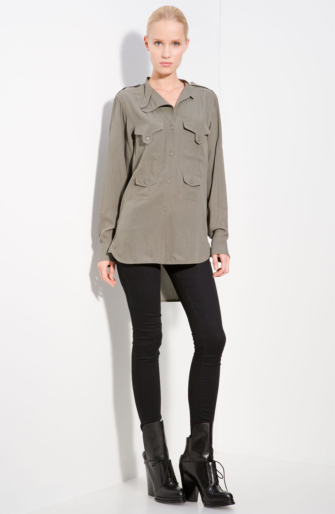 Main Image - Alexander Wang Silk Crepe Utility Shirt