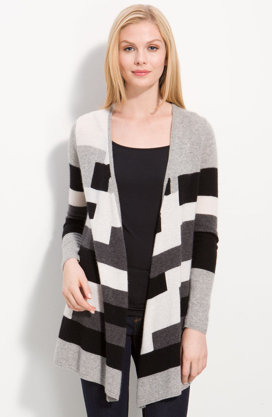 Alternate Image 1 Selected - Only Mine Long Patterned Cardigan (Petite)