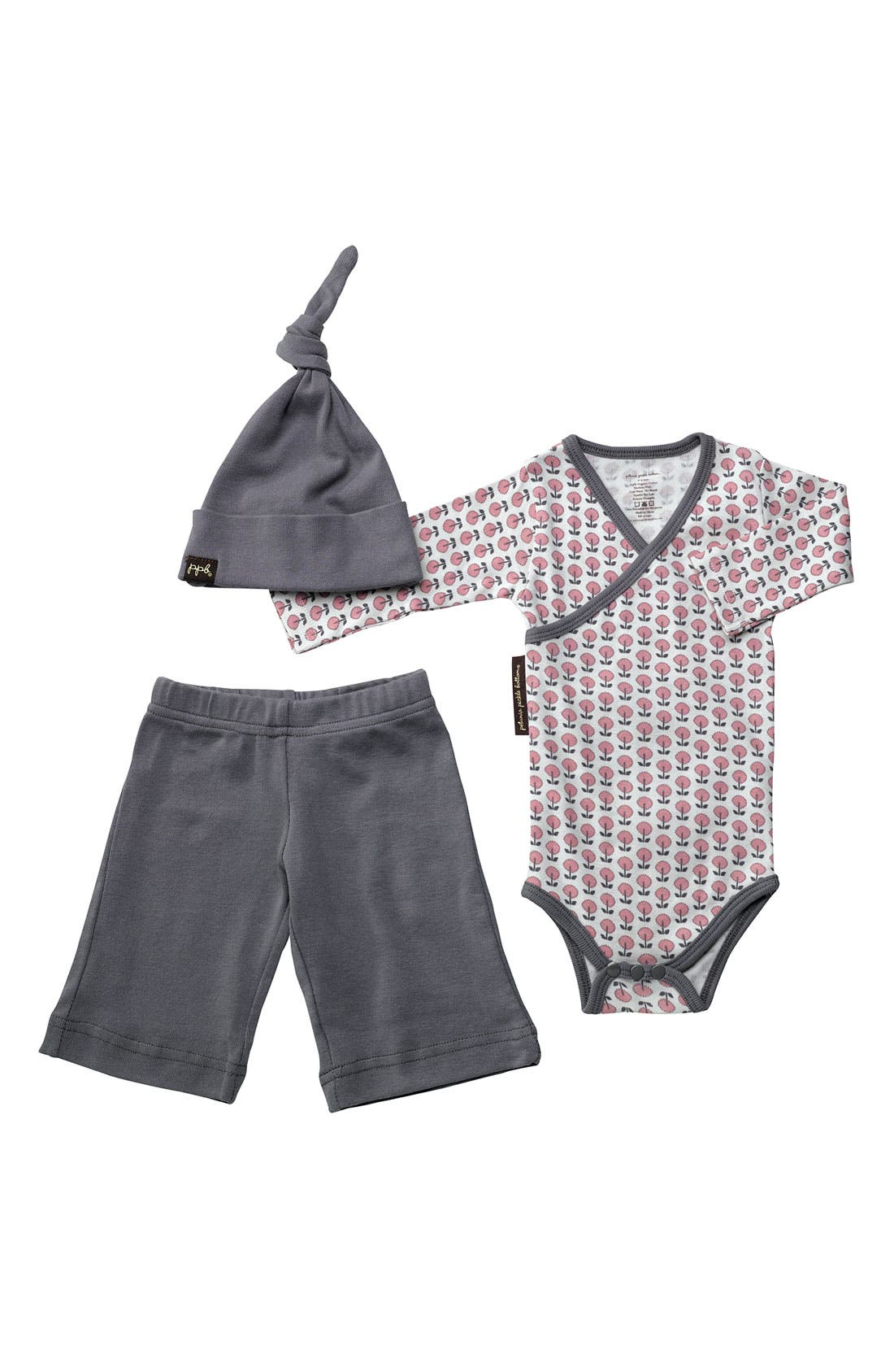 Main Image - Petunia Pickle Bottom Bodysuit, Pants & Hat Set (Infant)