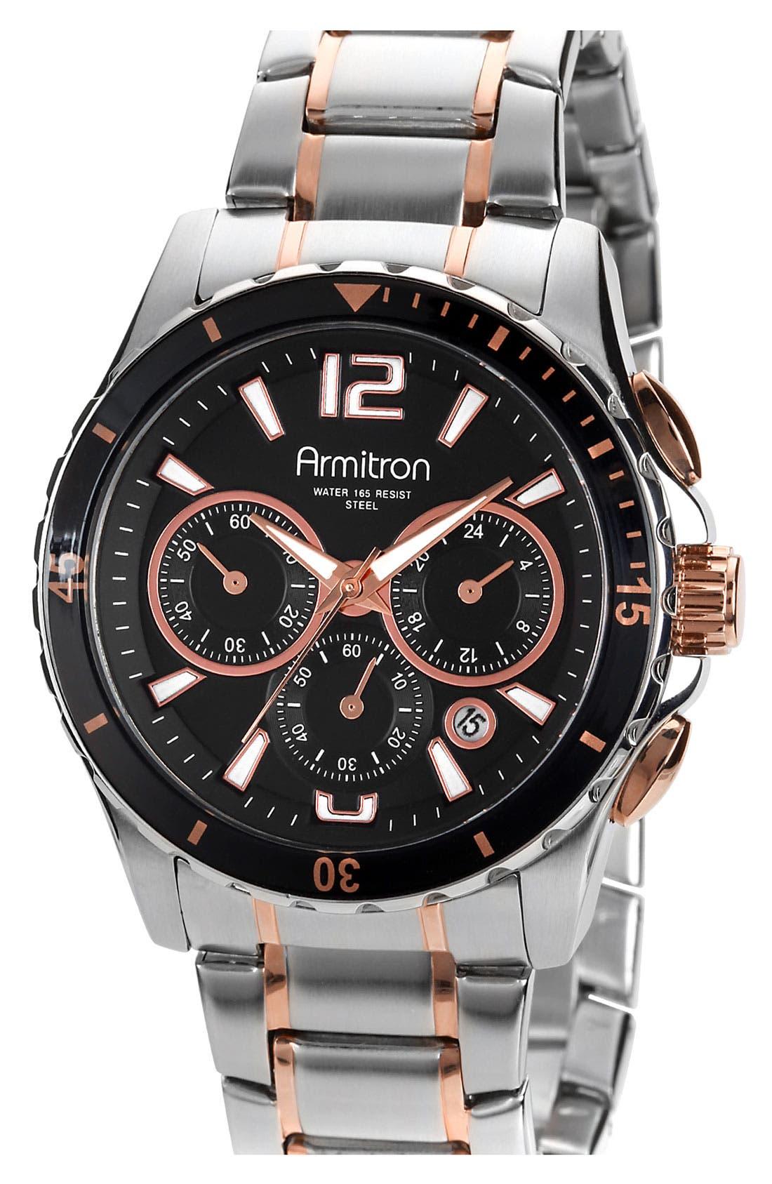 Alternate Image 1 Selected - Armitron Chronograph IP Bracelet Watch, 41mm