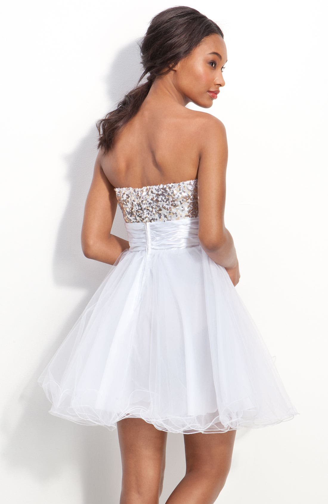 Alternate Image 2  - Accidentally In Love Strapless Sequin & Tulle Party Dress (Juniors)