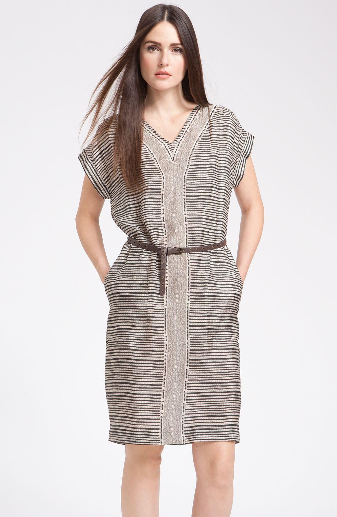 'Gabarra' V-Neck Dress,                             Main thumbnail 1, color,                             Black