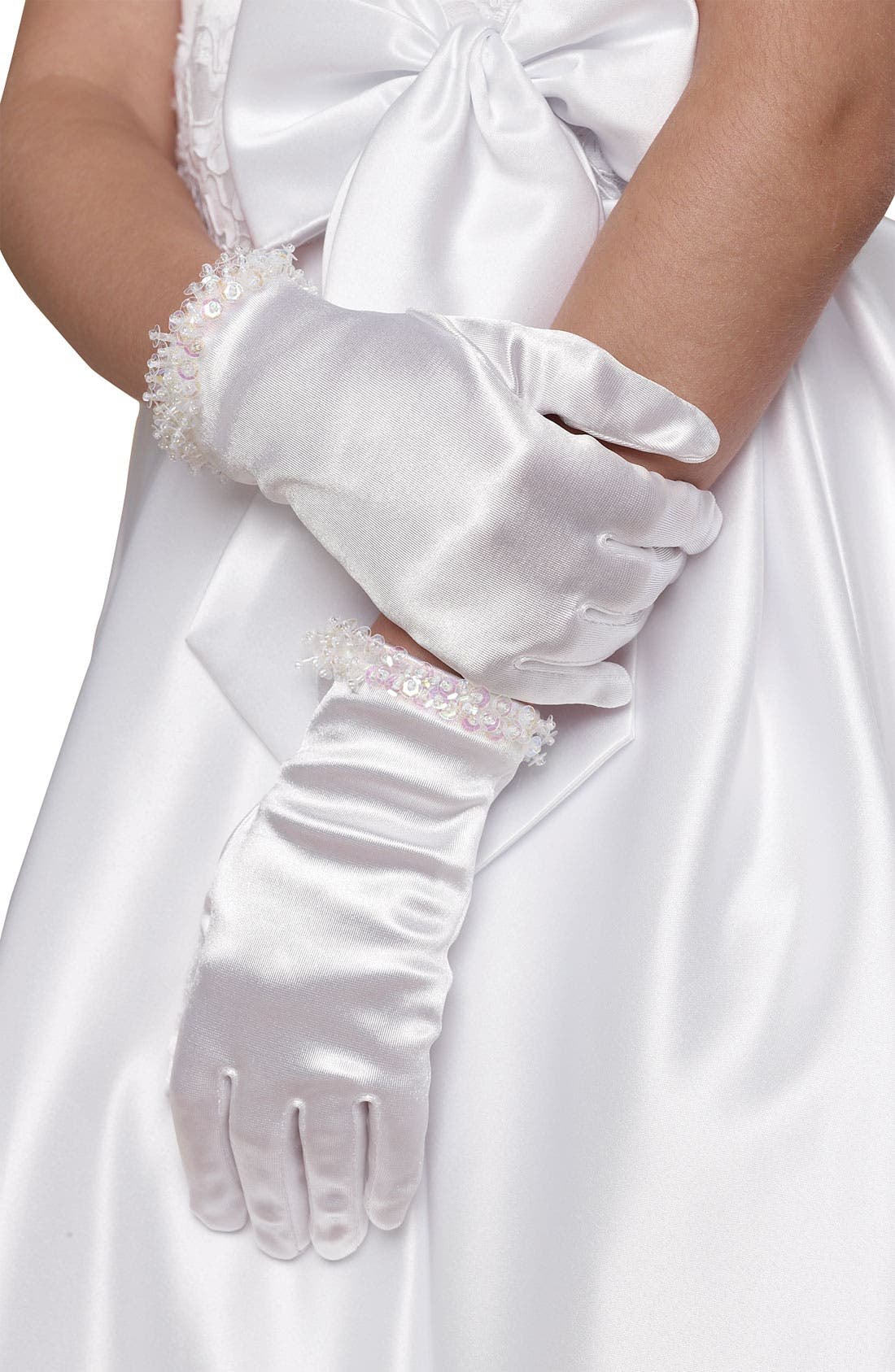 Alternate Image 1 Selected - Us Angels Beaded Gloves (Little Girls & Big Girls)