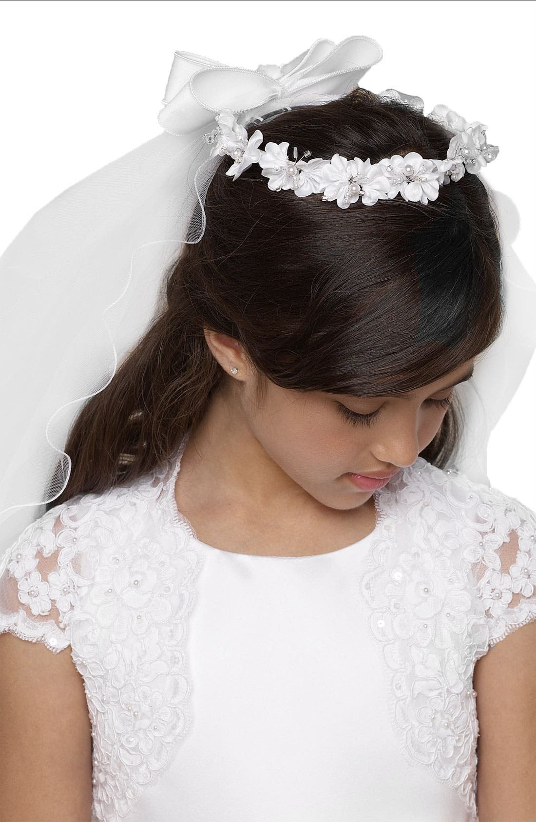 Alternate Image 1 Selected - Us Angels Wreath with Removable Veil (Little Girls & Big Girls)