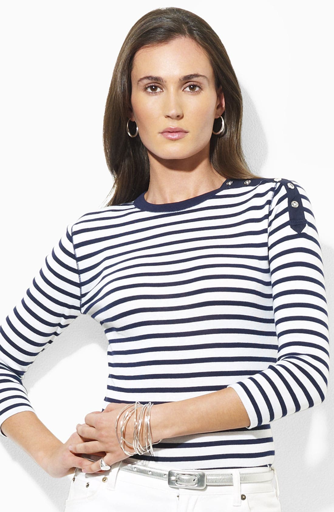 Alternate Image 1 Selected - Lauren by Ralph Lauren Button Shoulder Stripe Tee