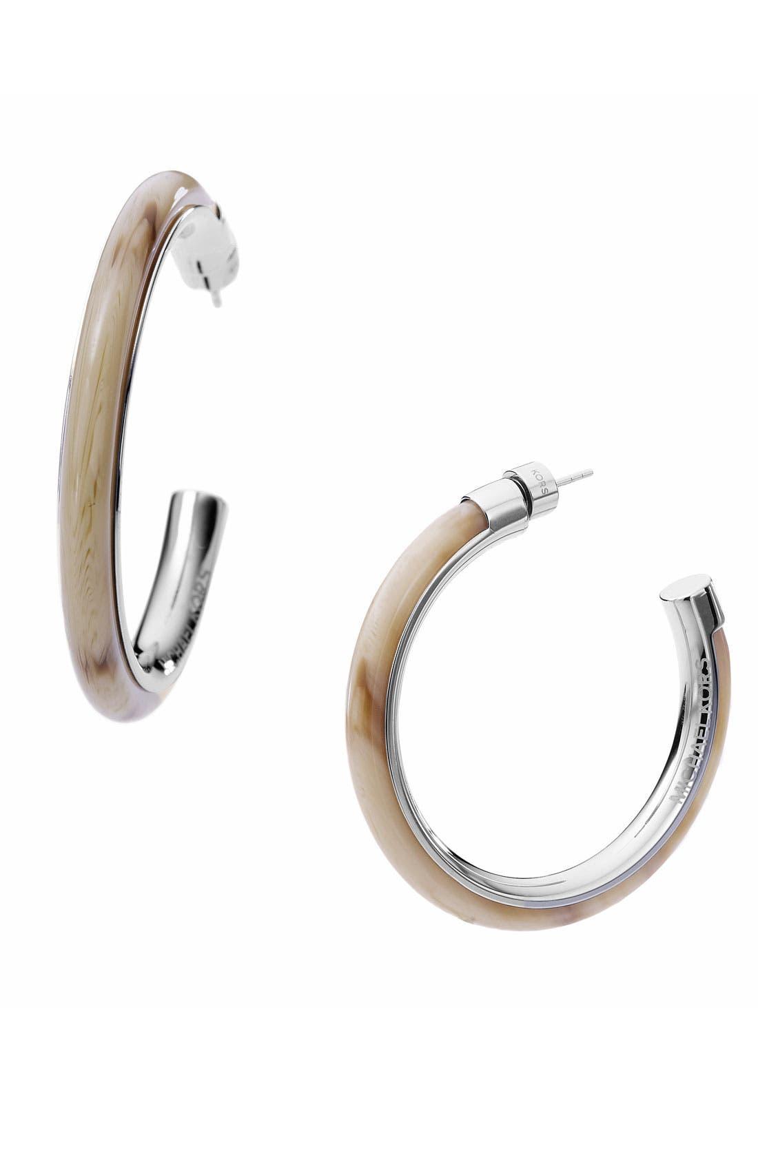 Main Image - Michael Kors 'Safari Glam' Inlay Hoop Earrings