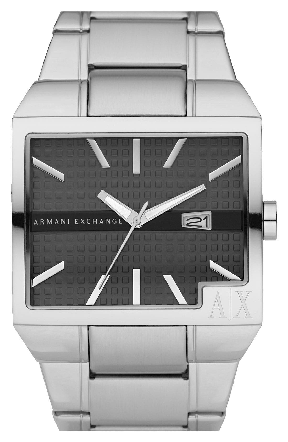 Men's Wide Rectangular Watch, 43mm x 36mm,                             Main thumbnail 1, color,                             Silver