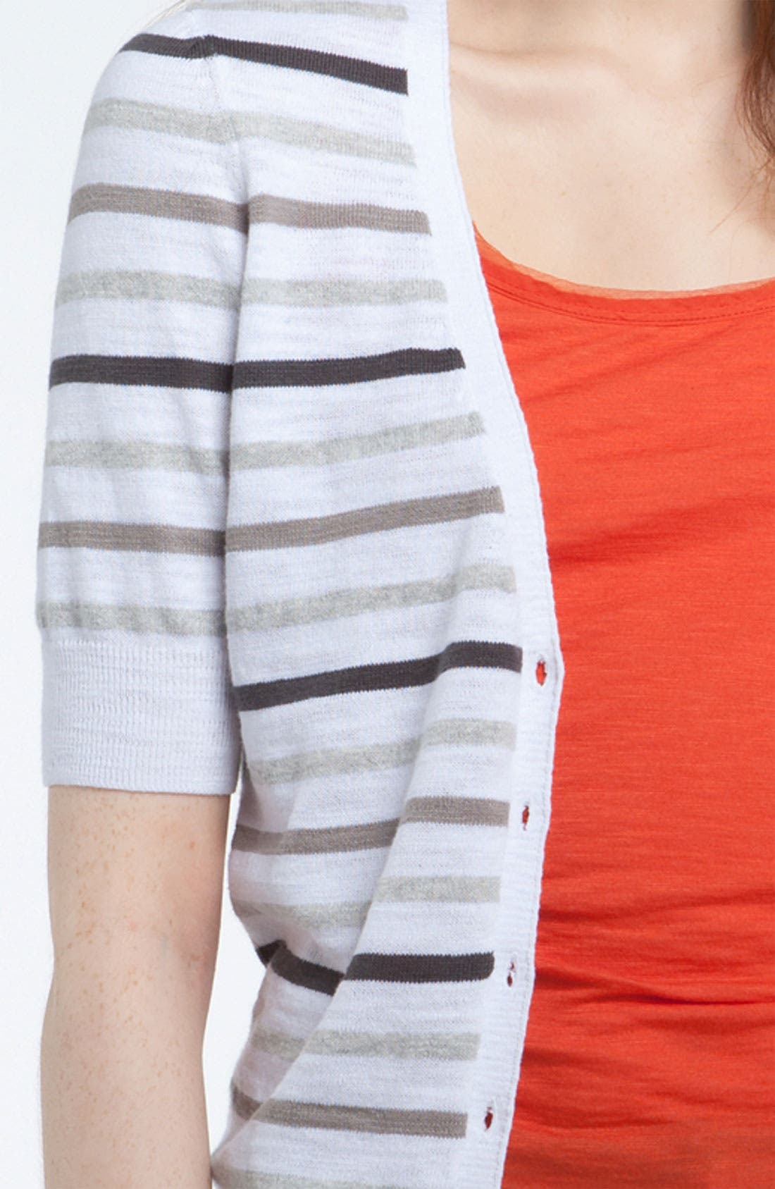 Alternate Image 3  - Caslon® V-Neck Elbow Sleeve Cardigan (Regular & Petite)