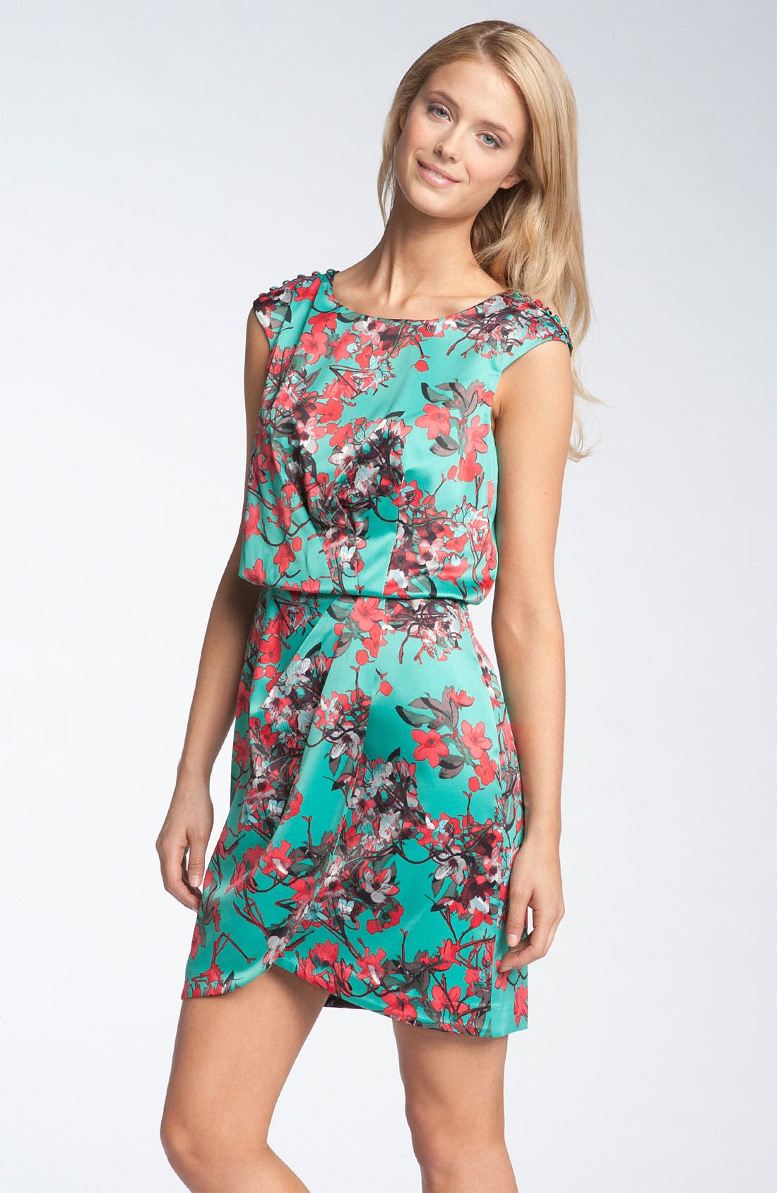 Main Image - Jessica Simpson Button Sleeve Satin Dress