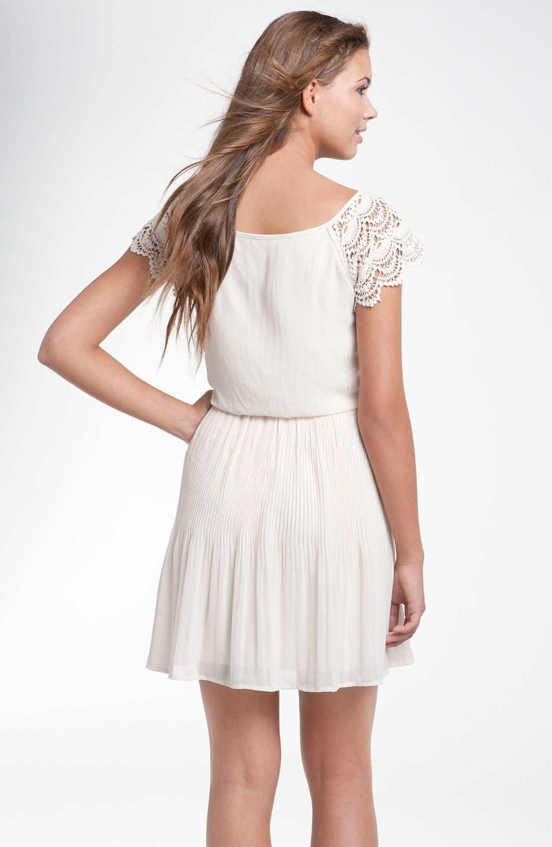 Alternate Image 2  - Lush Crochet Sleeve Blouson Dress (Juniors)