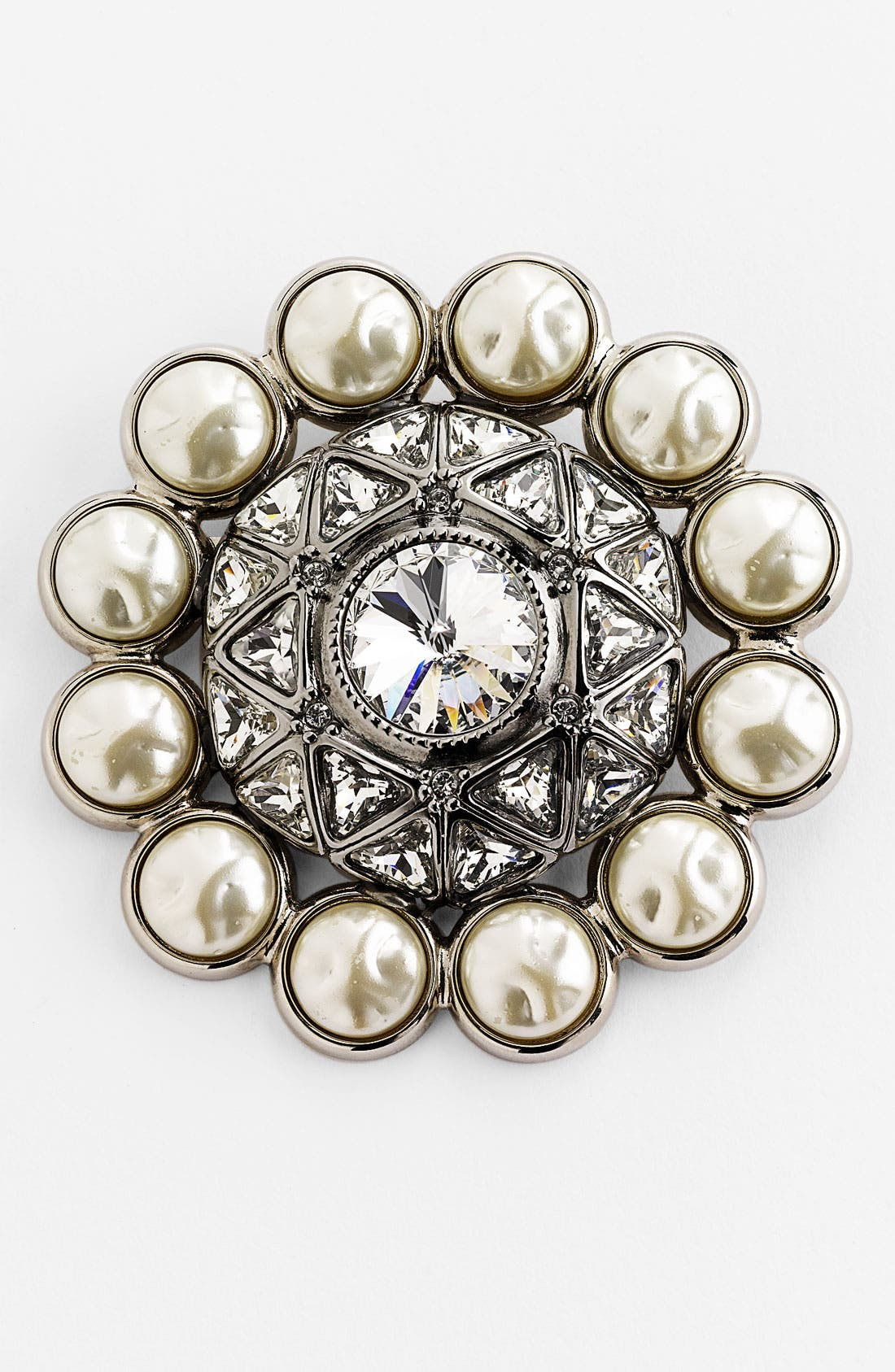 Main Image - St. John Collection Crystal & Baroque Faux Pearl Brooch