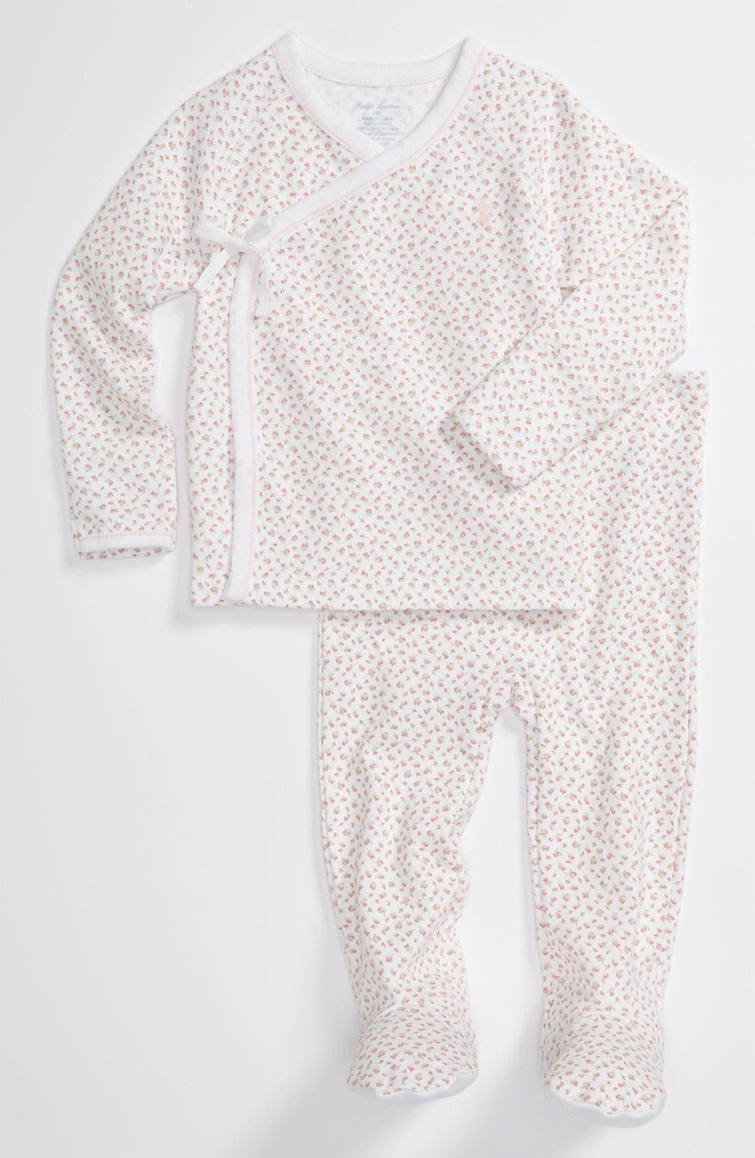 Main Image - Ralph Lauren Print Top & Footed Pants Set (Baby)