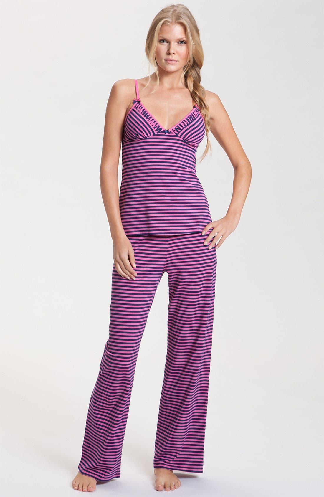 Alternate Image 1 Selected - Betsey Johnson Stripe Stretch Cotton Pajamas