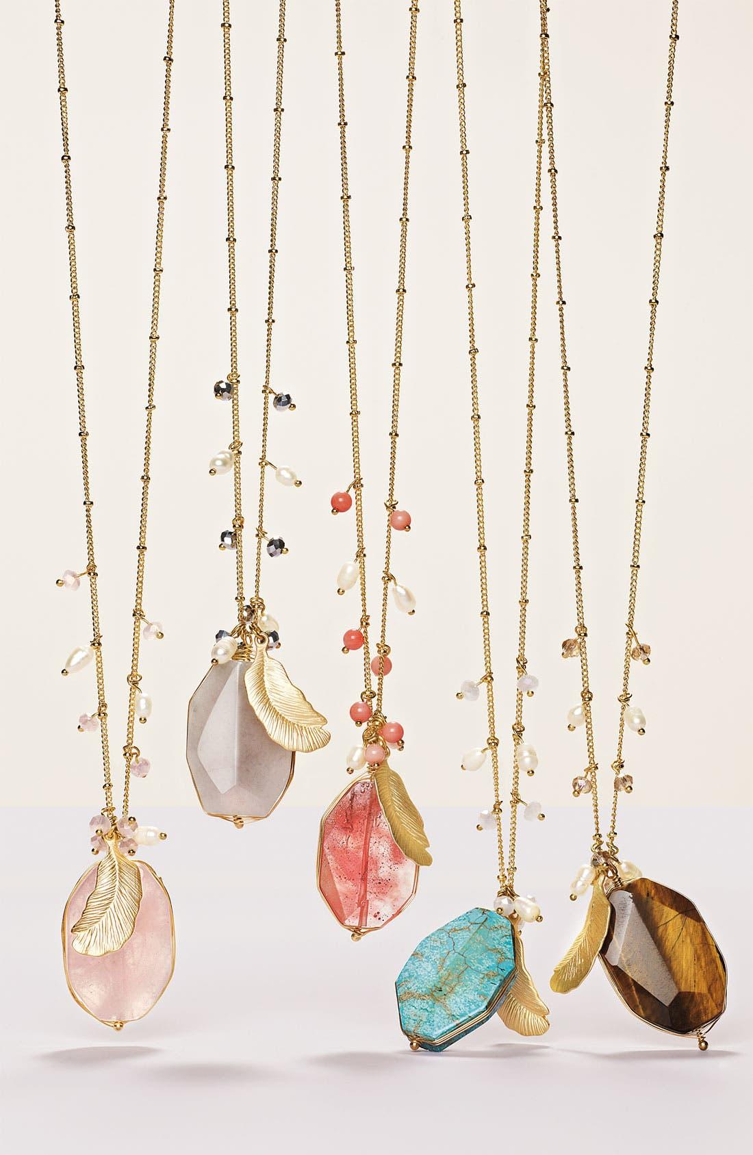 Alternate Image 3  - Cara Accessories Semiprecious Oval Pendant Necklace