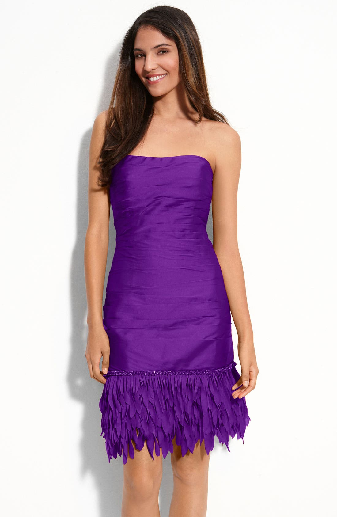 Main Image - JS Collections Fringe Hem Strapless Satin Dress