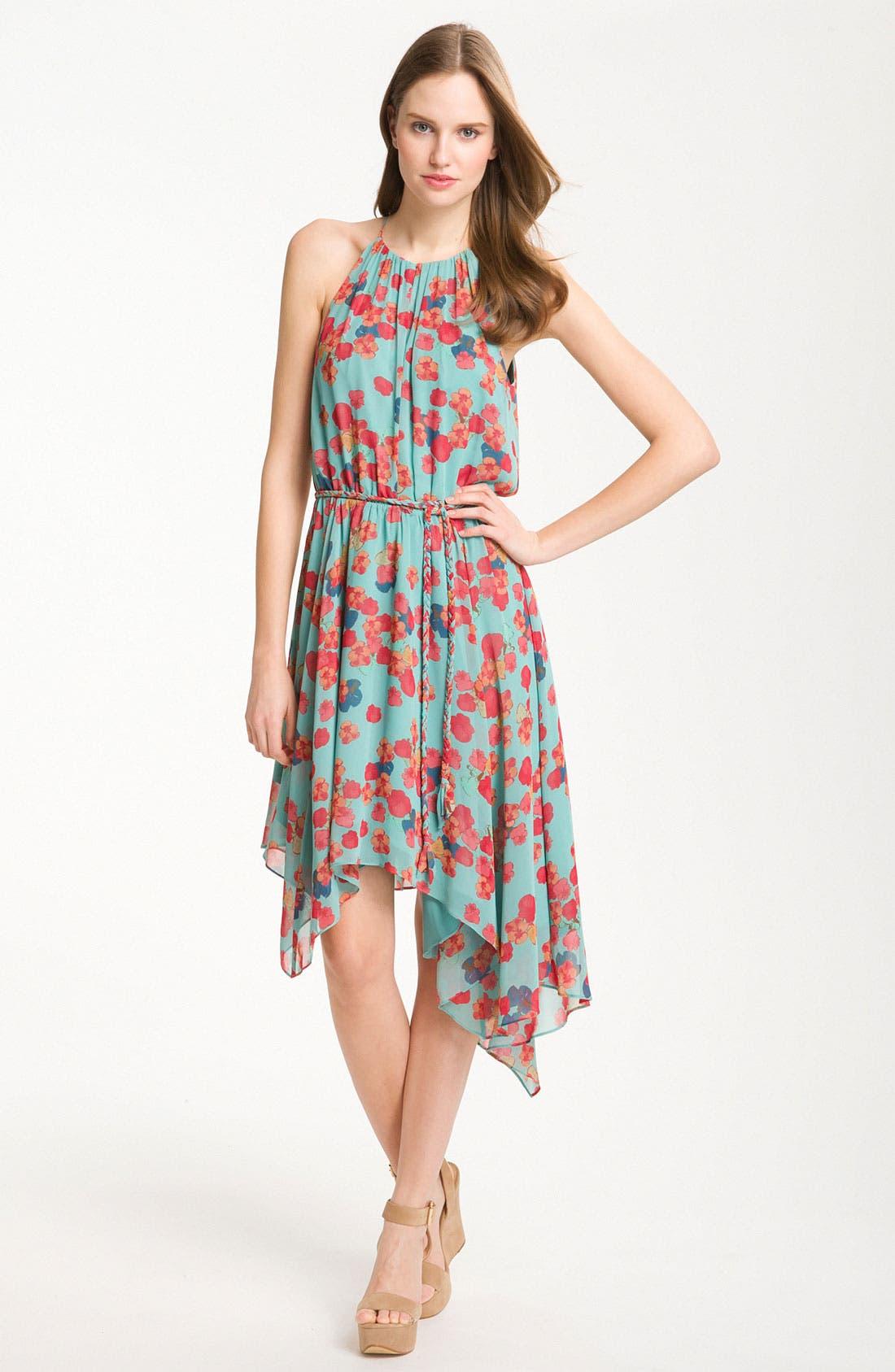 Alternate Image 1 Selected - Jessica Simpson Handkerchief Hem Chiffon Halter Dress