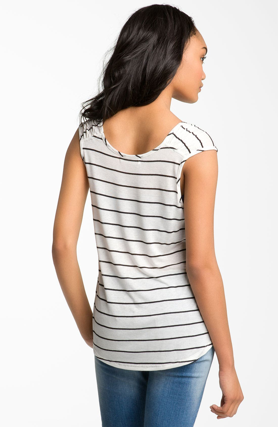 Alternate Image 2  - Painted Threads Striped Ruched Shoulder Tee (Juniors)
