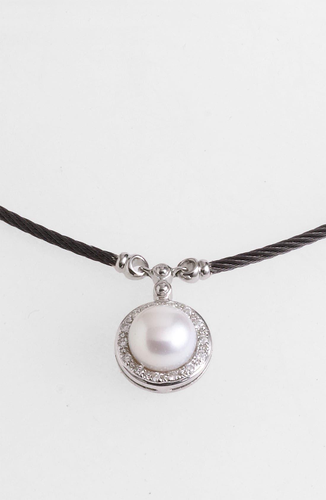 Alternate Image 2  - ALOR® Pearl & Diamond Pendant Necklace