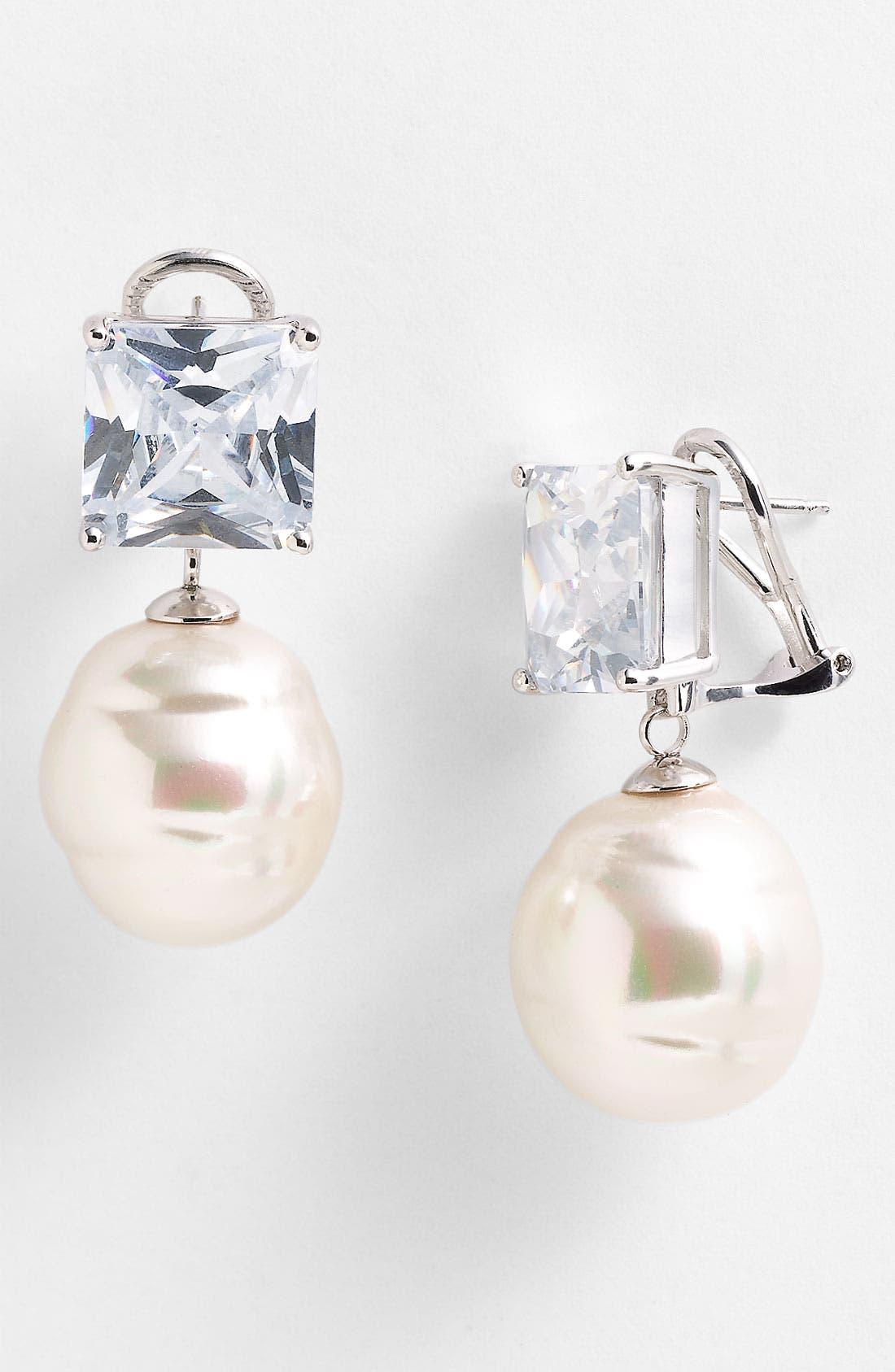 Main Image - Majorica Baroque Pearl & Crystal Earrings