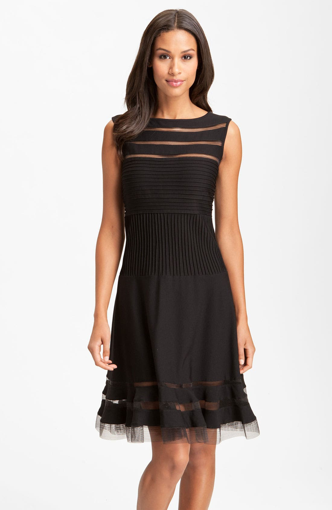 Main Image - Tadashi Shoji Sleeveless Mesh Stripe Jersey Dress (Regular & Petite)