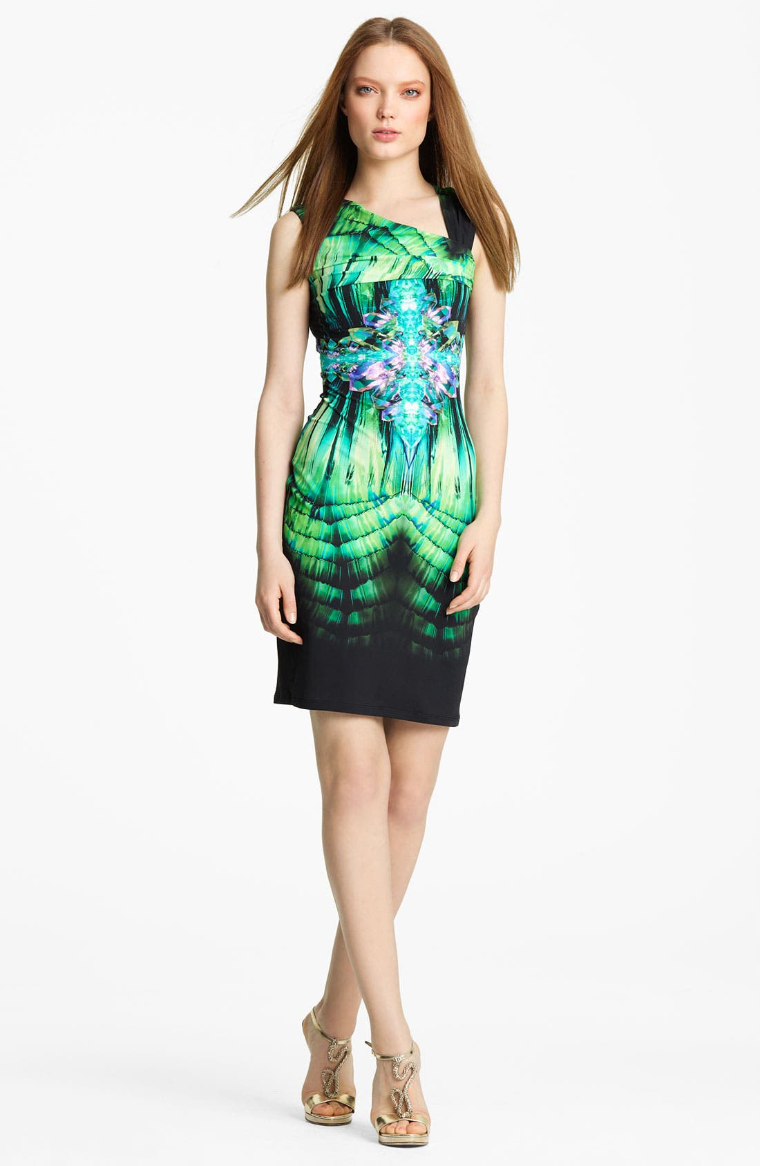 Main Image - Roberto Cavalli Asymmetrical Neck Jersey Dress